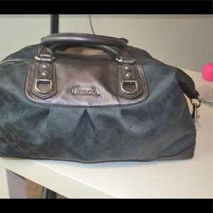 Coach Ashley Dark Gray Sateen Leather Satchel bag